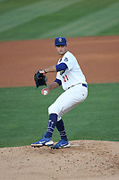 Nick Nastrini (21) of the Rancho Cucamonga Quakes pitches against the San Jose Giants at LoanMart Field on August 19, 2021 in Rancho Cucamonga, California. (Larry Goren/Four Seam Images)