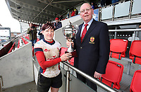 Tuesday 3rd April 2018 | Malone Women vs Ballynahinch Women<br /> <br /> Malone captain Jenna Stewart receives the Ulster Womens cup from Past Ulster Branch President Bobby Stewart after Malone defeated Ballynahinch in the Easter Tuesday Ulster Womens final at Kingspan Stadium, Ravenhill Park, Belfast, Northern Ireland. Photo by John Dickson / DICKSONDIGITAL