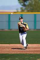 Spencer Honald (7) of The Dalles High School in The Dalles, Oregon during the Baseball Factory All-America Pre-Season Tournament, powered by Under Armour, on January 13, 2018 at Sloan Park Complex in Mesa, Arizona.  (Zachary Lucy/Four Seam Images)