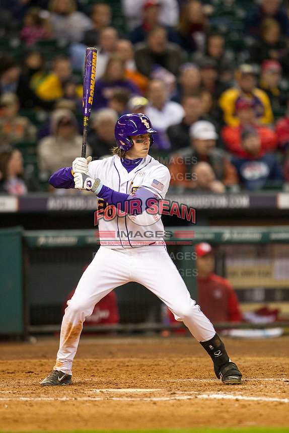 LSU Tigers third baseman Conner Hale (20) at bat during the NCAA baseball game against the Houston Cougars on March 6, 2015 at Minute Maid Park in Houston, Texas. LSU defeated Houston 4-2. (Andrew Woolley/Four Seam Images)