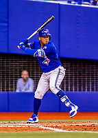26 March 2018: Toronto Blue Jays infielder Yangervis Solarte at bat during an exhibition game against the St. Louis Cardinals at Olympic Stadium in Montreal, Quebec, Canada. The Cardinals defeated the Blue Jays 5-3 in the first of two MLB pre-season games in the former home of the Montreal Expos. Mandatory Credit: Ed Wolfstein Photo *** RAW (NEF) Image File Available ***