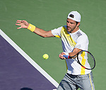 Jurgen Meltzer loses to David Ferrer (ESP) at the Sony Open being played at Tennis Center at Crandon Park in Miami, Key Biscayne, Florida on March 27, 2013