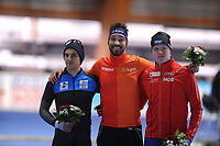 SPEEDSKATING: ERFURT: 19-01-2018, ISU World Cup, Podium 500m Men B Division, Daniel Greig (AUS), Kjeld Nuis (NED), Bjørn Magnussen (NOR), photo: Martin de Jong