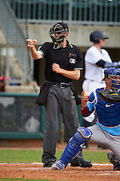 Umpire Alex Ransom makes a call during a game between the Tennessee Smokies and Montgomery Biscuits on May 25, 2015 at Riverwalk Stadium in Montgomery, Alabama.  Tennessee defeated Montgomery 6-3 as the game was called after eight innings due to rain.  (Mike Janes/Four Seam Images)