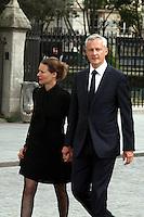 Bruno Le Maire et sa femme Pauline Doussau de Bazignan - Messe en l'hommage du Pretre Jacques Hamel à La Cathedrale De Notre Dame De Paris, 27 juillet 2016