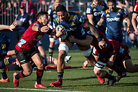 Shannon Frizell is tackled during the 2020 Super Rugby match between the Crusaders and Highlanders at Orangetheory Stadium in Christchurch, New Zealand on Saturday, 9 August 2020. Photo: Joe Johnson / lintottphoto.co.nz