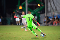 LAKE BUENA VISTA, FL - JULY 16: Eloy Room #1 of the Columbus Crew SC kicks the ball during a game between New York Red Bulls and Columbus Crew at Wide World of Sports on July 16, 2020 in Lake Buena Vista, Florida.