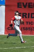 Lowell Spinners outfielder Nick Longhi (21) tracks a fly ball during a game against the Batavia Muckdogs on July 17, 2014 at Dwyer Stadium in Batavia, New York.  Batavia defeated Lowell 4-3.  (Mike Janes/Four Seam Images)