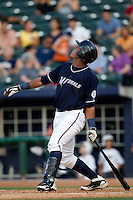 Salvador Perez (39) of the Northwest Arkansas Naturals watches a hit ball go foul during a game against the San Antonio Missions at Arvest Ballpark on June 30, 2011 in Springdale, Arkansas. (David Welker / Four Seam Images)