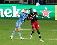 WASHINGTON, DC - SEPTEMBER 06: Keaton Parks #55 of New York City FC goes up for a header with Donovan Pines #23 of D.C. United during a game between New York City FC and D.C. United at Audi Field on September 06, 2020 in Washington, DC.