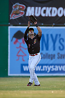 Batavia Muckdogs left fielder Michael Donadio (7) settles under a fly ball during a game against the West Virginia Black Bears on June 20, 2018 at Dwyer Stadium in Batavia, New York.  West Virginia defeated Batavia 4-3.  (Mike Janes/Four Seam Images)