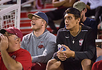 NWA Democrat-Gazette/BEN GOFF @NWABENGOFF<br /> Asa Shearin (left), Arkansas linebacker, and Nick Starkel, Arkansas quarterback, support the Arkansas soccer team as they play Vanderbilt Thursday, Sept. 26, 2019, at Razorback Field in Fayetteville.