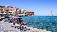 Fine Art Landscape Print Photograph. of a colourful Greek fishing port located in Chania, Crete, Greece.