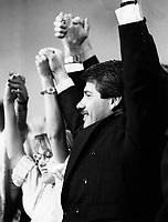 Montreal (QC) CANADA file photo - Nov 9 1986 - Jean Dore (Rcm) get ekected as Montreal new Mayor, replacing Jean Drapeau.