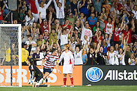 Abby Wambach (20) of the United States (USA) celebrates scoring. The United States (USA) women defeated China PR (CHN) 4-1 during an international friendly at PPL Park in Chester, PA, on May 27, 2012.