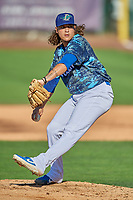 Ogden Raptors starting pitcher Elio Serrano (44) delivers a pitch to the plate against the Idaho Falls Chukars at Lindquist Field on August 9, 2019 in Ogden, Utah. The Raptors defeated the Chukars 8-3. (Stephen Smith/Four Seam Images)