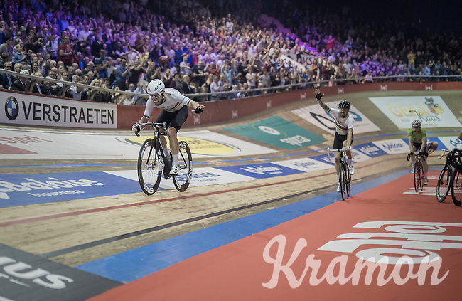 An extatic Mark Cavendish (GBR/Dimension Data) is ultimately launched across the finish line by Sir Bradley Wiggins (GBR/Wiggins) having secured the overall win with just a few laps to go in the finishing 6day event.<br /> <br /> 2016 Gent 6<br /> day 6