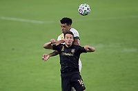 LOS ANGELES, CA - SEPTEMBER 13: Danny Musovski #16 of the LAFC and Felipe Mora #9 of the Portland Timbers battle for a ball during a game between Portland Timbers and Los Angeles FC at Banc of California stadium on September 13, 2020 in Los Angeles, California.