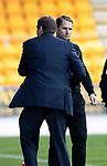 St Johnstone v Partick Thistle…28.04.18…  McDiarmid Park    SPFL<br />Alan Archibald shakes hands with Tommy Wright at full time<br />Picture by Graeme Hart. <br />Copyright Perthshire Picture Agency<br />Tel: 01738 623350  Mobile: 07990 594431