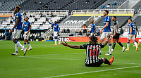 1st November 2020; St James Park, Newcastle, Tyne and Wear, England; English Premier League Football, Newcastle United versus Everton; Saint Maximin of Newcastle appeals for a penalty in the first half after he is taken down, but outside the box