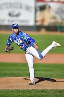 Ogden Raptors starting pitcher Austin French (35) delivers a pitch to the plate against the Billings Mustangs in Pioneer League action at Lindquist Field on August 14, 2016 in Ogden, Utah. Ogden defeated Billings 15-9. (Stephen Smith/Four Seam Images)