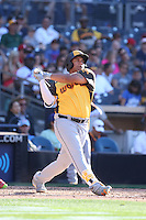 Josh Naylor of the World Team bats against the USA Team during The Futures Game at Petco Park on July 10, 2016 in San Diego, California. World Team defeated USA Team, 11-3. (Larry Goren/Four Seam Images)