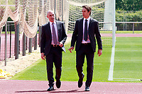 The coach of the national soccer team of Spain, Julen Lopetegui (r) with RFEF's President Luis Rubiales, during the signing of the renewal of his contract until 2020. May 22,2018. (ALTERPHOTOS/Acero) /NortePhoto.com