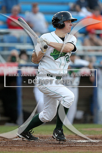 Jamestown Jammers first baseman Aaron Dudley during a game vs. the Batavia Muckdogs at Russell Diethrick Park in Jamestown, New York September 1, 2010.   Batavia defeated Jamestown 10-5.  Photo By Mike Janes/Four Seam Images