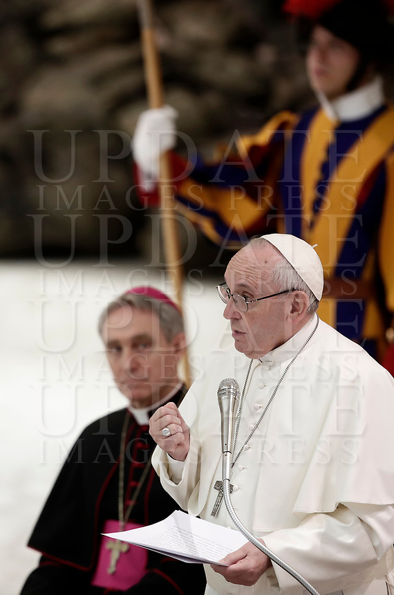 Papa Francesco tiene un'udienza speciale per i partecipanti del XXIX Corso sul Foro Interno in aula Paolo VI in Vaticano, 9 marzo 2018.<br /> Pope Francis leads a special audience to the participants of the XXIX Course on the internal Forum in Paul VI Hall at the Vatican, on march 9, 2018.<br /> UPDATE IMAGES PRESS/Isabella Bonotto<br /> <br /> STRICTLY ONLY FOR EDITORIAL USE