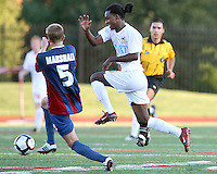Andrew Marshall #5 of Crystal Palace Baltimore moves towards Gregory Richardson #20 of the Carolina Railhawks during an NASL match at Paul Angelo Russo Stadium in Towson, Maryland on September 18 2010. Carolina won 4-2.