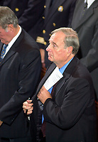 Canadian Finance Minister ; Paul martin put his  speech in his vest pocket before speaking  at  a multi-religious ceremony held in memory of the USA terrorists attacks victims, Sept 14th 2001 in St-James United Church in dowwntown, Montreal, CANADA.<br /> <br /> The ceremony was attened by Quebec Premier ;  Bernard Landry, Canadian Minster of Finance ; Paul Martin, Montreal Mayor ;  Pierre Bourque, US consul in M ontreal ;  Deborah McCarthy and many Montrealers  of all faith and ethnic origins<br /> <br /> Photo by Pierre Roussel <br /> <br /> <br /> NOTE : Nikon D-1 JPEG opened with QUIMAGE ICC profile , saved as Adobe RG 1998 color space.