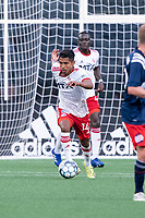 FOXBOROUGH, MA - JUNE 26: Gibran Rayo #14 of North Texas SC brings the ball forward near the Texas goal during a game between North Texas SC and New England Revolution II at Gillette Stadium on June 26, 2021 in Foxborough, Massachusetts.