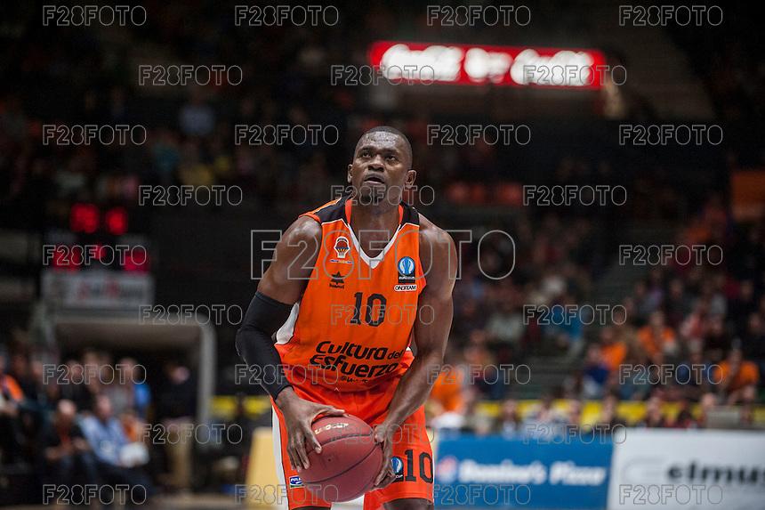 VALENCIA, SPAIN - JANUARY 6: Romain Sato during EUROCUP match between Valencia Basket and PAOK Thessaloniki at Fonteta Stadium on January 6, 2015 in Valencia, Spain