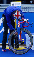 31 MAY 2015 - LONDON, GBR - Jonathan Brownlee (GBR) from Great Britain prepares his bike in transition before the start of the elite men's 2015 ITU World Triathlon Series round in Hyde Park, London, Great Britain (PHOTO COPYRIGHT © 2015 NIGEL FARROW, ALL RIGHTS RESERVED)