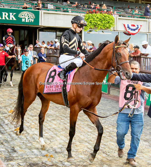 JULY 10, 2021: Cellist post parade in the Gr.1 Belmont Derby Invitational Stakes, going 1 1/4 mile on the turf, at Belmont Park in Elmont, New York. Sue Kawczynski/Eclipse Sportswire/CSM