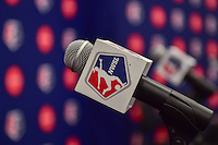 New York, NY - Thursday February 02, 2017: NWSL mic flag prior to a joint NWSL and A+E Networks press conference at the A+E headquarters.