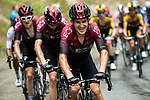 Team Ineos with Michal Kwiatkowski (POL) take control of the pace on the front of the peloton on the final climb during Stage 2 of Criterium du Dauphine 2020, running 135km from Vienne to Col de Porte, France. 13th August 2020.<br /> Picture: ASO/Alex Broadway   Cyclefile<br /> All photos usage must carry mandatory copyright credit (© Cyclefile   ASO/Alex Broadway)