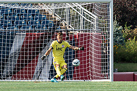 FOXBOROUGH, MA - JULY 25: USL League One (United Soccer League) match. Joe Rice #51 of New England Revolution II takes a goal kick during a game between Union Omaha and New England Revolution II at Gillette Stadium on July 25, 2020 in Foxborough, Massachusetts.