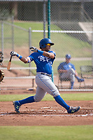 Meibrys Viloria (19) of the Kansas City Royals follows through on his swing during an Instructional League game against the San Francisco Giants at the Giants Training Complex on October 17, 2017 in Scottsdale, Arizona. (Zachary Lucy/Four Seam Images)