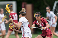 NEWTON, MA - MAY 14: Kessina Heyn #31 of Temple University defends during NCAA Division I Women's Lacrosse Tournament first round game between University of Massachusetts and Temple University at Newton Campus Lacrosse Field on May 14, 2021 in Newton, Massachusetts.