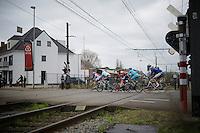 escape group crossing the train tracks<br /> <br /> 104th Scheldeprijs 2016