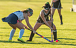 WASHINGTON, CT-111020JS09 —Shepaug's (7) tries to poke the ball away from Thomaston's Hannah Laone (13) during their field hockey game Tuesday at Shapaug High School. <br /> Jim Shannon Republican-American