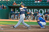 Jake Gatewood (8) of the Helena Brewers at bat against the Ogden Raptors in Pioneer League action at Lindquist Field on August 17, 2015 in Ogden, Utah. Ogden defeated Helena 7-2.  (Stephen Smith/Four Seam Images)