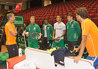11-sept.-2013,Netherlands, Groningen,  Martini Plaza, Tennis, DavisCup Netherlands-Austria, Practice, Footbal Club FC Groningen is visiting the Dutch Daviscup team, <br /> Photo: Henk Koster