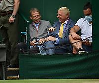 8th July 2021, Wimbledon, SW London, England; 2021 Wimbledon Championships, quarterfinals;   MBoris Becker , Germany and Juergen Klinsman watching the first Mens Semifinal Match