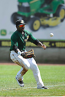 Chantz Mack #2 of the Clinton LumberKings chases a ball hit to right field against the Kane County Cougars at Ashford University Field on July 6, 2014 in Clinton, Iowa. The LumberKings won 1-0.   (Dennis Hubbard/Four Seam Images)