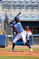 FCL Rays third baseman Alejandro Pie (64) bats during a game against the FCL Twins on July 20, 2021 at Charlotte Sports Park in Port Charlotte, Florida.  (Mike Janes/Four Seam Images)