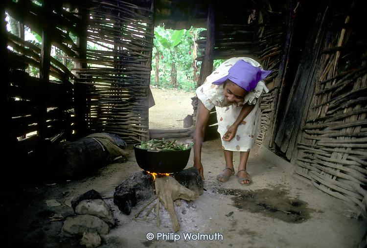 Elderly woman cooking beans on an open fire in her kitchen, Montesita, Dominican Republic.