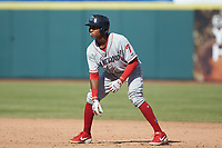Malvin Matos (33) of the Lakewood BlueClaws takes his lead off of first base against the Hickory Crawdads at L.P. Frans Stadium on April 28, 2019 in Hickory, North Carolina. The Crawdads defeated the BlueClaws 10-3. (Brian Westerholt/Four Seam Images)