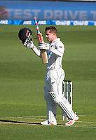 NZ's Henry Nicholls celebrates his century during day one of the International Test Cricket match between the New Zealand Black Caps and West Indies at the Basin Reserve in Wellington, New Zealand on Friday, 11 December 2020. Photo: Dave Lintott / lintottphoto.co.nz